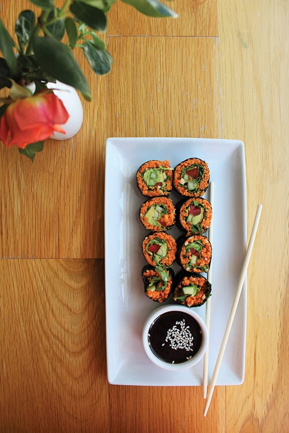 A plate of sweet potato cashew sushi at Living Kitchen