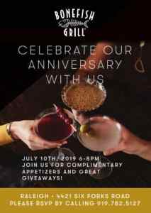 Join Bonefish Grill in Raleigh to Celebrate 18th Anniversary @ Bonefish Grill   Raleigh   North Carolina   United States