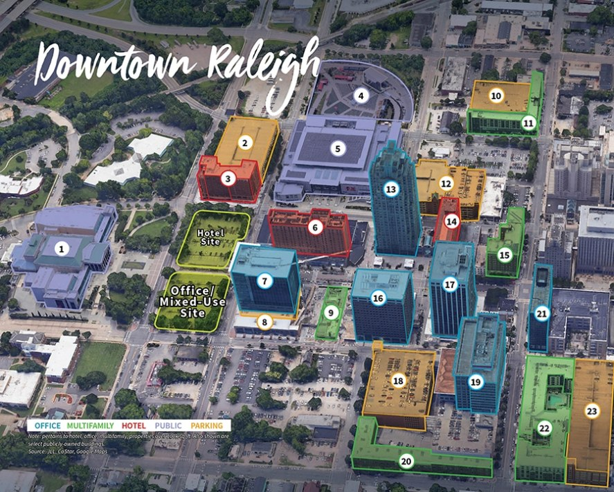 downtown raleigh convention center hotel map