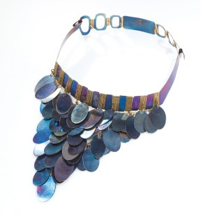 Titanium Grapes Necklace. Anodized titanium. From the collection of Christina Trevino | Photo by Jason Dowdle