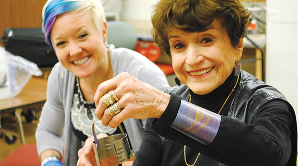 The late Mary Ann Scherr (right) and Laura Wyker (left) at the NC State Craft Center | Photo courtesy of NC State Technician