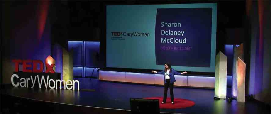 Sharon Delaney McCloud giving her TEDx Talk at Cary's SAS Institute