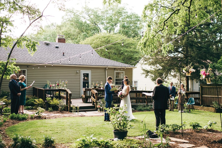 Ellese Nickles' and Blake Bartok's socially distant backyard wedding ceremony.
