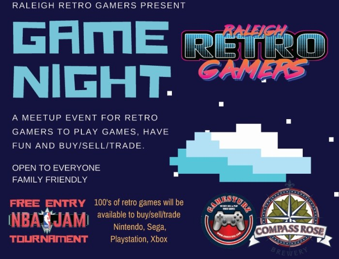 raleigh retro gamers, compass rose, brewery