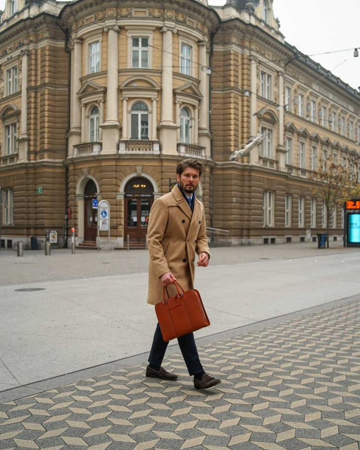 Rale Popic, The Gent Style Blogger, double breasted coat, Carl Friedrik briefcase