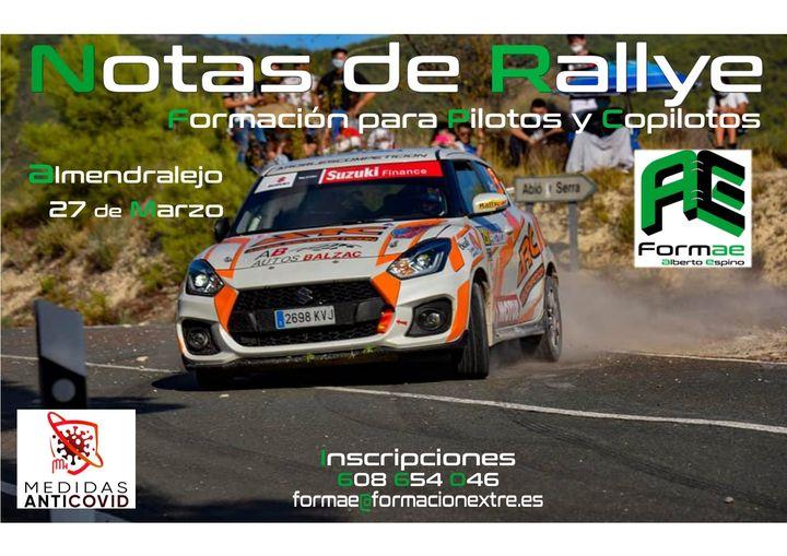 Curso presencial de Notas de Rallye en Almendralejo