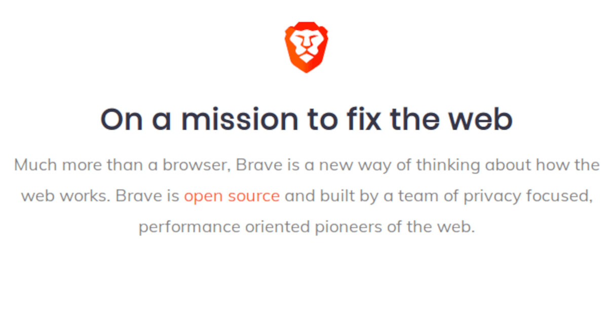 Brave – On a mission to fix the web.