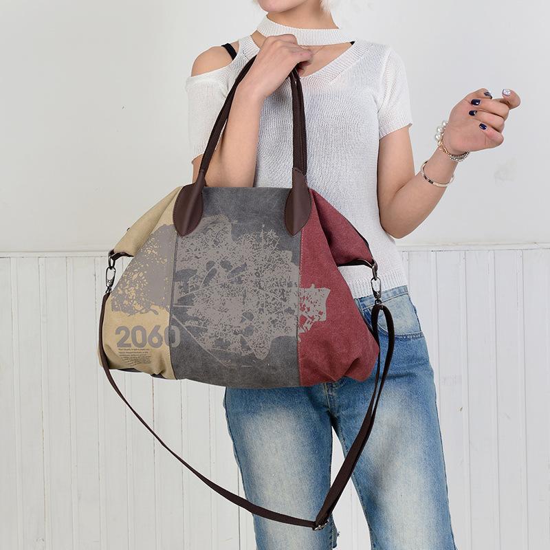 Geantă modernă casual pentru femei, de purtat pe umăr, capacitate mare, material textil
