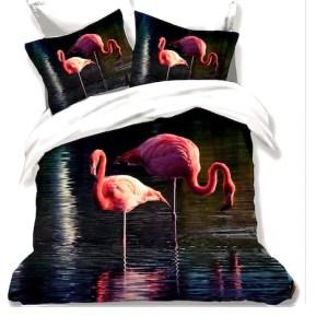 Lenjerie de pat Finet 3D 6 piese, flamingo