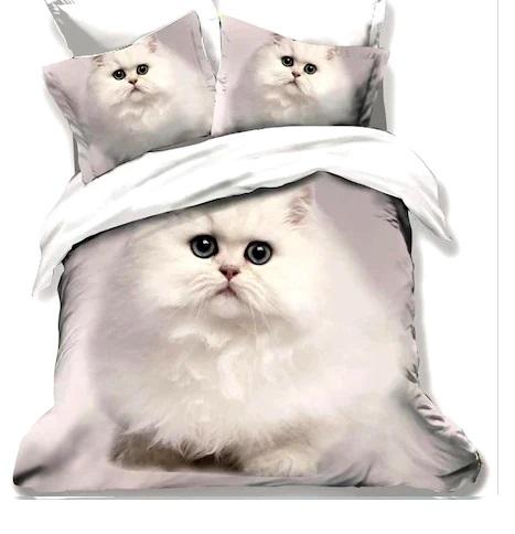 Lenjerie de pat Finet 3D 6 piese, pisic alb