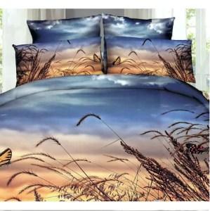 Set complet lenjerie de pat dublu + pilota + 2 perne, Digital Print PUCIOASA, 7 piese, 2 persoane, lan de grau