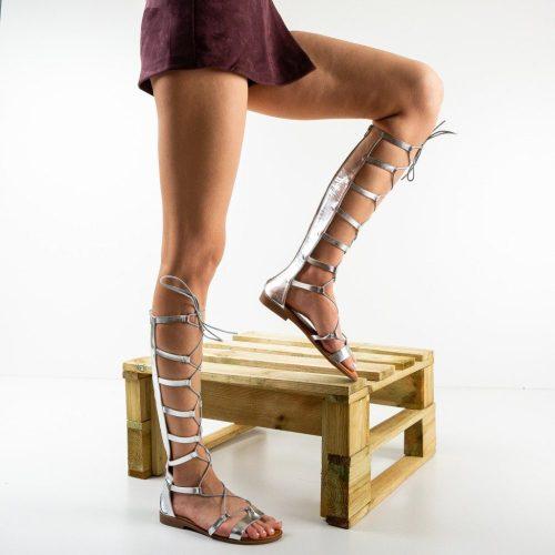 Sandale gladiator argintii, inalte