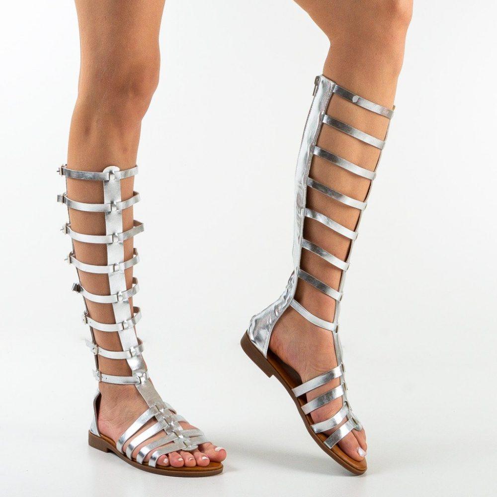 Sandale gladiator Sienna Argintii