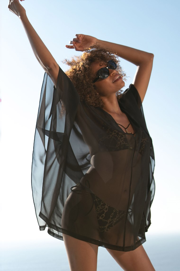 rochie de plaja din voal negru transparent