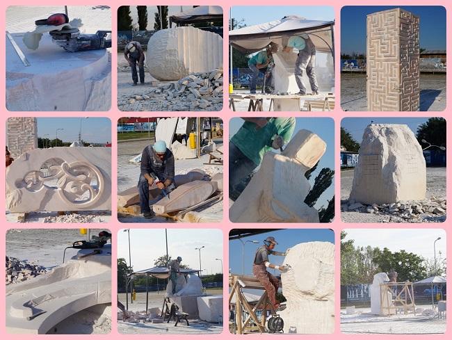 """Sculptori surprinsi la lucru, in cadrul Simpozionului International de Sculptura """"Drumuri brancusiene"""""""