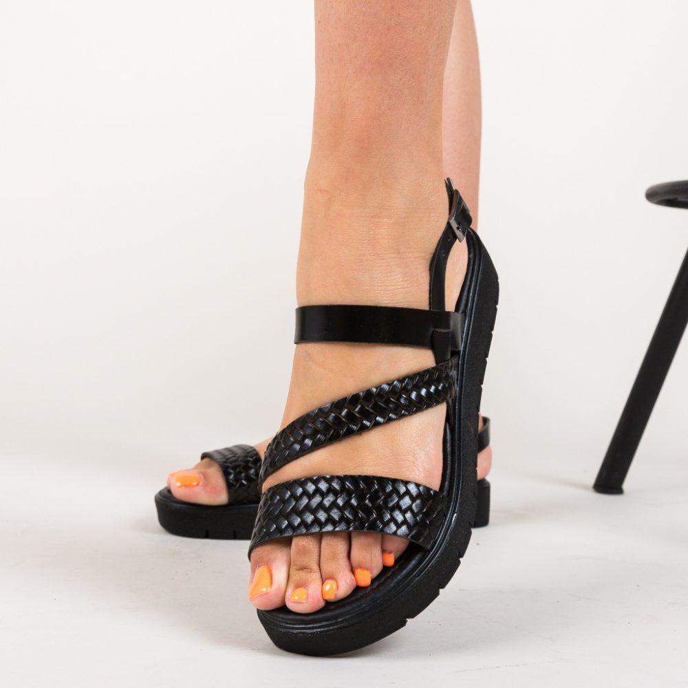 Sandale fara toc Omy Negre, piele