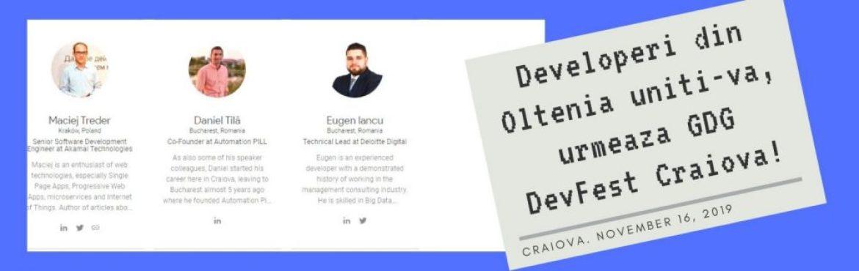 Speakeri la GDG DevFest Craiova!