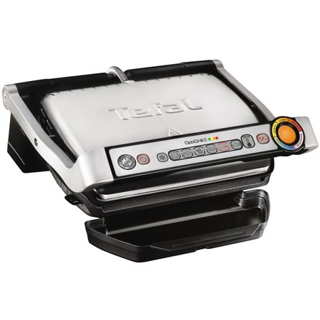 Gratar electric Tefal OptiGrill+ GC712D, 2000 W, 6 programe automate, Inox/Negru