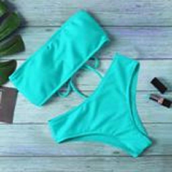 Costum de baie sexy culoare uni, bikini fără bretele bleu