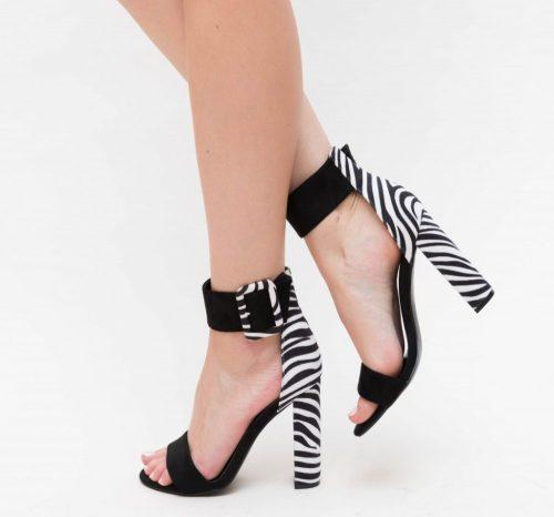 Sandale cu toc Fermes Albe