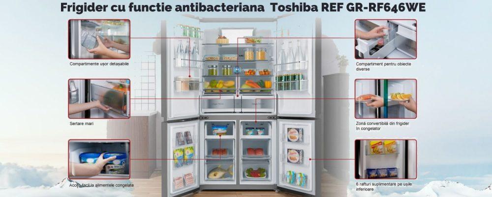 Frigider cu functie antibacteriana si tehnologie japoneza Toshiba REF GR-RF646WE