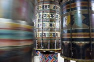 Welcome to Thimphu—Prayer wheels inside the older temple at Zangto Pelri Lhakhang.