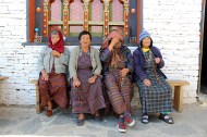 Four pilgrims, one too shy to be photographed, Changangkha Lhakhang.