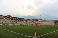 Soccer grounds surrounded by hills, Changlimithang Stadium.