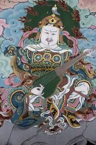 Wall mural, Trashi Chhoe Dzong depicting Padmasambhava or Guru Rinpoche, the 8th Century Tantric master credited with bringing Buddhism into Bhutan.