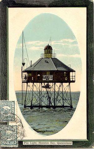 old postcard of the Moreton Bay Pile Light