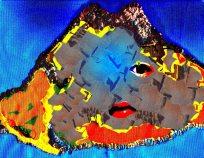 volacn cousu sur tissu avec strass scanné et retouché par ordinateur avec des écorces d'arbres et mes propres yeux 2013