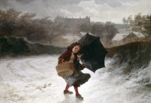 'A Winter's Morning' Ð little girl with umbrella
