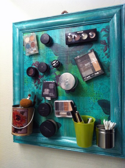 using magnets to create a makeup storage frame