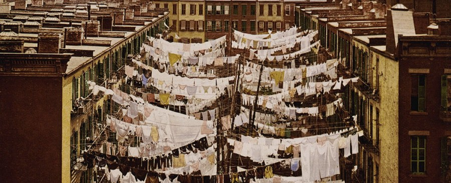 Clothes strung between buildings in NYC