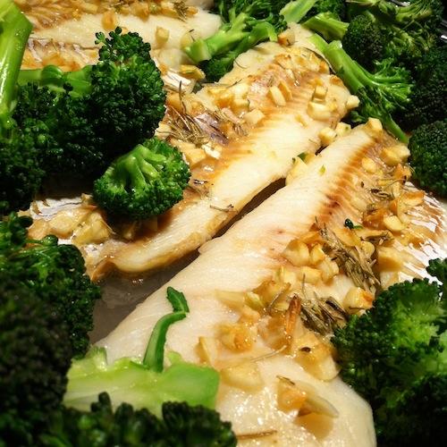 Baked Garlic Cod with Broccoli