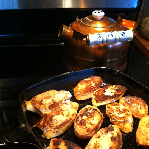 Making French Toast in a Cast Iron Pan