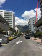 Streetscape, nested amid mountains