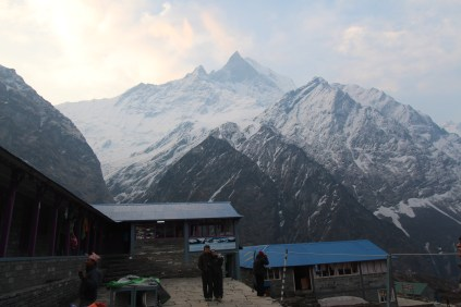 We woke up to some spectacular views at Fishtail Base Camp. There were mountains (or 'hills' if you're Nepali) all around us.