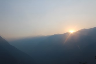 We watched the sunrise over the valleys, encouraged after a hazy few days to begin with. Nepal DOES have mountains.