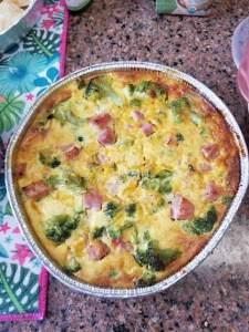 Broccoli, ham and pimento cheese crustless quiche