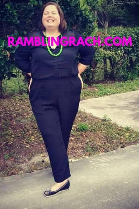 Rambling Rach wearing plus size jumpsuit