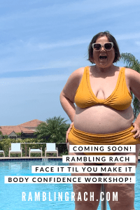 Rambling Rach is standing by the pool in a mustard plus size bikini.