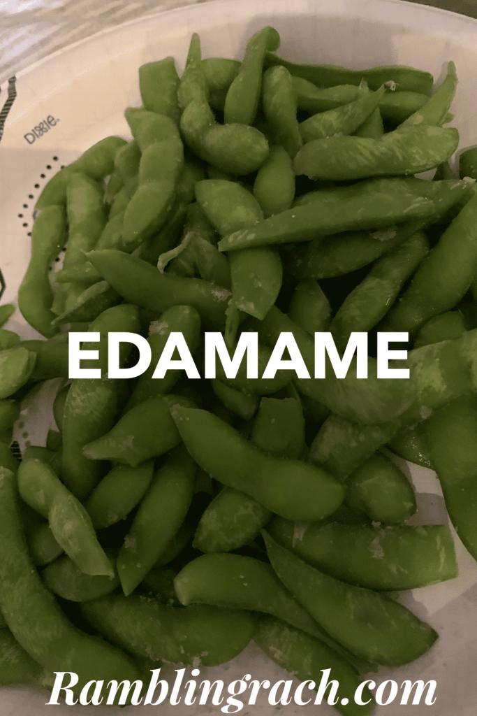 Edamame with pink Himalayan sea salt