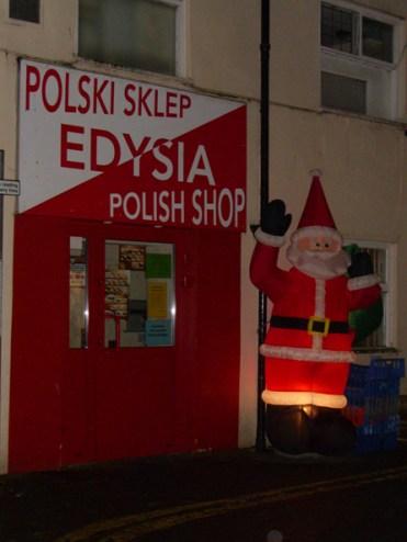 Photo of Santa outside shop