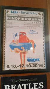 """Finding Dory"" advert in the café."
