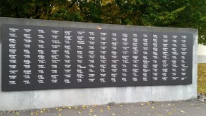 The wall memorializing all the Jews from Oldenburg who were killed