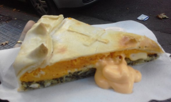 Vegetarian tart dish with spinach, egg and sometimes pumpkin, it was actually very rich!