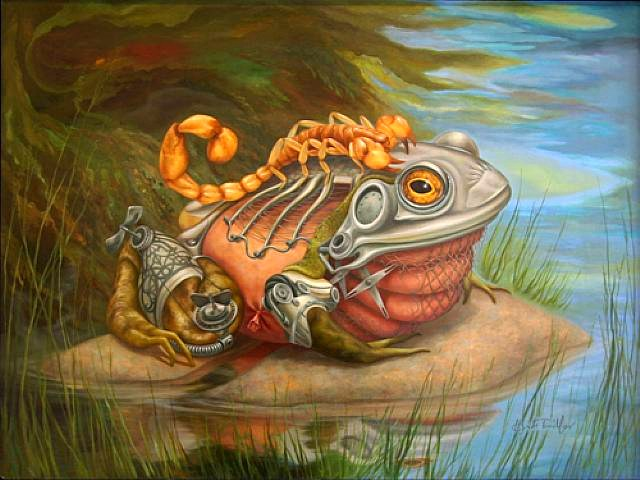 The Scorpion climbs onto the Steampunk Frog. Yeah, I kinda dig Steampunk.