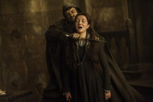 Catelyn Stark giving her libelous wedding toast at the Red Wedding.