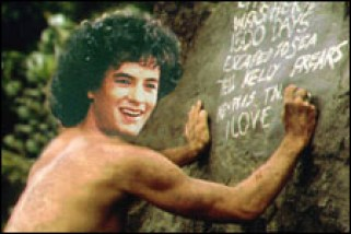 Matt Damon mentor Tom Hanks trapped alone in another movie - back when he was young.
